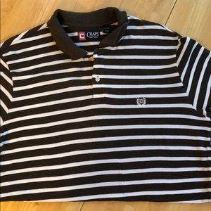 Gently used brown and white striped chaps polo